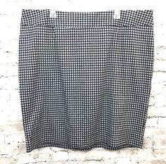 Lane Bryant Womens Skirt Black Gray Houndstooth Plus Size 24W Stretch Career  #LaneBryant #StraightPencil #Career