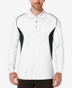 Pga Tour Men's Colorblocked Long-Sleeve Performance Polo - White S