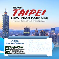 5 DAYS TAIPEI NEW YEAR PACKAGE (Land Arrangement Only) Minimum of 2 persons  For more inquiries please call: Landline: (+63 2)282-6848 Mobile: (+63) 918-238-9506 or Email us: info@travelph.com #Taipei #Taiwan #TravelPH #TravelWithNoWorries New Year Packages, Taipei Taiwan, Packaging, The Unit, News, Day, Travel, Viajes, Destinations