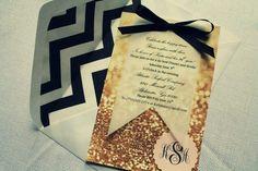 Glitter and vellum Invitation in a chevron envelope