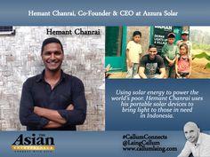 Hemant Chanrai, Co-Founder & CEO at Azzura Solar #Entrepreneur #Entrepreneurs  #Entrepreneurship #CallumConnects #Asia #Asian #Interviews  callumlaing.com
