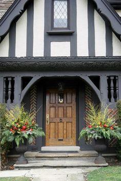 painted front door on brick tudor
