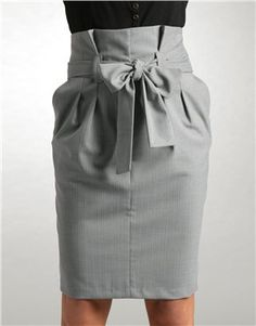 High waisted paperbag pleat pencil skirt