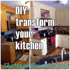 Transform and update your kitchen cabinets with paint ...What a makeover! themagicbrushinc.com