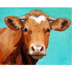 Guernsey Cow Art Farm Animal Print Face on Light by DottieDracos, $12.00