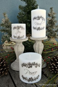 Have a few plain candles in a cabinet somewhere? Today, I'm going to share with you how to add images to candles using a heat gun. Using this technique, I turned plain white inexpensive candles into beautiful ones that look like they came from an upscal Old Candles, Vintage Candles, Pillar Candles, Advent Candles, Unity Candle, Diy Holiday Gifts, Christmas Crafts, Christmas Decorations, Holiday Decor