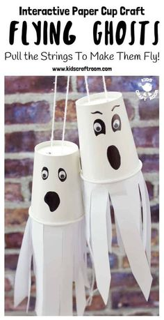 Do your kids love interactive Halloween crafts? We do! It's so fun to make something and then be able to play with it too. This easy Paper Cup Flying Ghost Craft is sure to be a hit! Pull the strings to see the paper cup ghosts fly up and down! So spooky and fun! #kidscraftroom #halloween #halloweencrafts #halloweendecorations #kidscrafts #crafts #ghosts #ghostcrafts #papercups #papercupcrafts Halloween Arts And Crafts, Halloween Crafts For Toddlers, Diy Halloween Decorations, Toddler Crafts, Halloween Diy, Diy For Kids, Craft Kids, Bat Craft, Halloween Magic