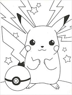 Cute Coloring Pages, Cartoon Coloring Pages, Free Printable Coloring Pages, Adult Coloring Pages, Coloring Pages For Kids, Coloring Books, Pokemon Coloring Sheets, Pikachu Coloring Page, Pokemon Party