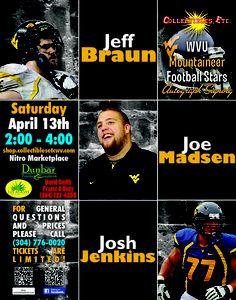 Jeff Braun, Josh Jenkins, & Joe Madsen autograph event Collectibles Etc April Josh, Wvu Football, David Smith, 2013, Events, This Or That Questions, Blue