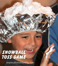 "Snowy Shower—Silvery looking shower cap, cut open, filled with shaving cream; partner throws marshmallows into the ""snow."""