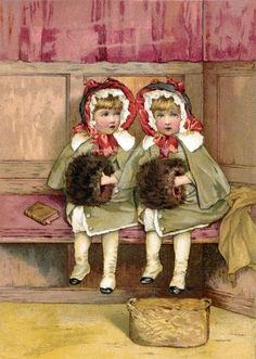 Lizzie Lawson (1867 – 1902, English)  Two Girls With Muffs