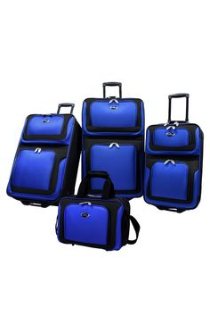 Four-Piece New Yorker Luggage Set in Blue Functionality and innovation come together in this versatile luggage from the U.S. Traveler New Yorker Collection; Constructed of lightweight and durable tear-resistant fabrication, the set has multiple high capacity bodies that allow for maximum organization demanded by today