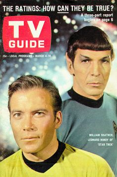 """William Shatner and Leonard Nimoy as Captain Kirk and Spock from the 1966 NBC TV show """"Star Trek"""" on the cover of TV Guide magazine"""