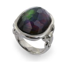 Honora Black Mother Of Pearl with Quartz Cushion Cut Silver Ring (14.770 RUB) ❤ liked on Polyvore featuring jewelry, rings, mother of pearl rings, band jewelry, silver jewellery, mother of pearl jewelry and silver jewelry