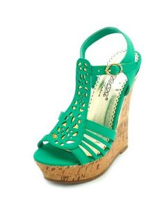 laser cut cork wedge sandal