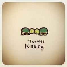 Turtle kissing Cute Turtle Drawings, Animal Drawings, Tiny Turtle, Turtle Love, Pet Turtle, Cute Turtles, Baby Turtles, Kawaii Drawings, Easy Drawings
