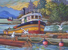Tidal Round-up, Greta Guzek, (Canada, Sunshine Coast) Seaside Art, Coastal Art, Beach Art, Emily Carr Paintings, Canadian Artists, Learn To Paint, Landscape Art, Art Images, Watercolor Paintings