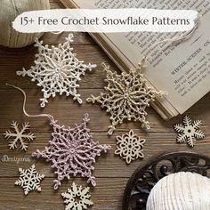 Thread Crochet, Crochet Motif, Crochet Crafts, Crochet Doilies, Crochet Flowers, Crochet Projects, Crochet Coaster, Free Crochet Snowflake Patterns, Christmas Crochet Patterns