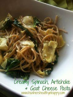 Lemony Spinach, Artichoke & Goat Cheese Pasta – Home