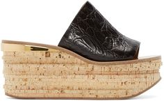 Chloé - Black Leather & Cork Sandals