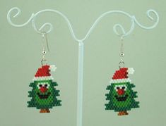 Happy Christmas Tree Beaded Earrings  Christmas by LazyRose