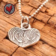 Fingerprint Heart Pendant Two Hearts Beating by ThatsMyImpression