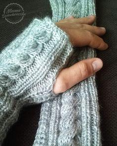 Ciepłe mitenki na drutach