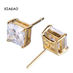 XIAGAO Fashion 24K Yellow Gold Plated Small Earing CZ Zircon Princess White Crystal Zircon Stud Earring for Women Jewelry