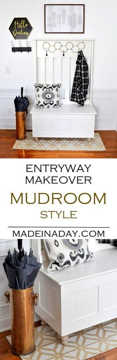 Mudroom Entryway Makeover How to make a stylish entryway with a Hall Tree Bench madeinaday.com