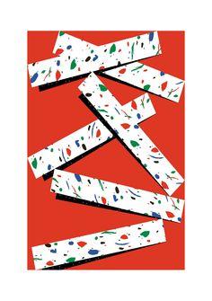 Bâtons - Appelle Moi Papa Sérigraphie sur papier - 40x50 cm - Edition limitée à 10 ex - Numérotée et signée 50 euros #appellemoipapa #serigraphie #screenprint #red #print #geometric #graphisme