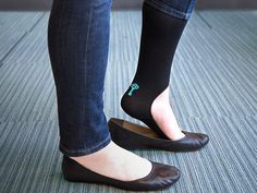 No show knee high socks give you the bare foot ballet flat look you want without sacrificing warmth or comfort. Keysocks! Great idea!