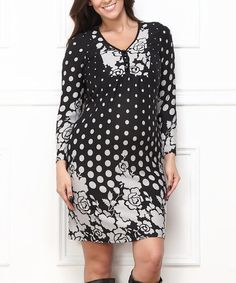 Look what I found on #zulily! Charcoal & Black Polka Dot Button-Front Dress - Plus #zulilyfinds