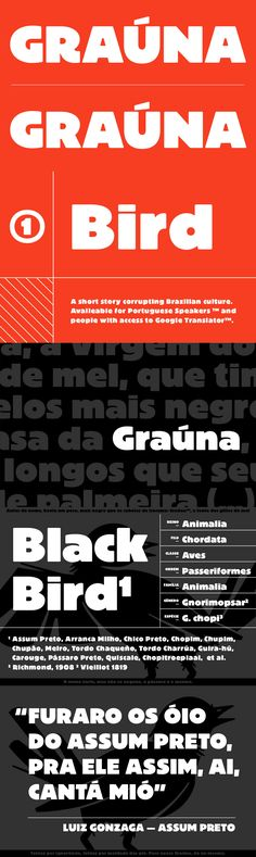 Grauna - Graúna is Typeóca's first 'serious typeface'. The idea was to produce a revival of Block Heavy, removing the 'rough' texture from its outline. Though other revivals existed, most of them approached the Block family as a whole, leaving aside the idiosyncrasies that make the Heavy weight so unique. In the early stages of its development, however, we realized that a lot of its quirkiness is only possible precisely because of the 'rough' texture we were trying to remove. That way, we…