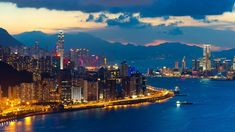 Hong Kong world architecture cities buildings skyscrapers night lights hdr window signs neon shore sound bay water vehicles ships skyline cityscape mountains sky clouds sunset sunrise scenic wallpaper background The Places Youll Go, Cool Places To Visit, Places To Travel, Villas, Hong Kong Night, Hongkong, Victoria Harbour, City Wallpaper, Scenic Wallpaper