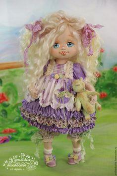 Купить Фиалочка . Кукла авторская текстильная art doll - кремовый, розовый, розы, белый, шебби