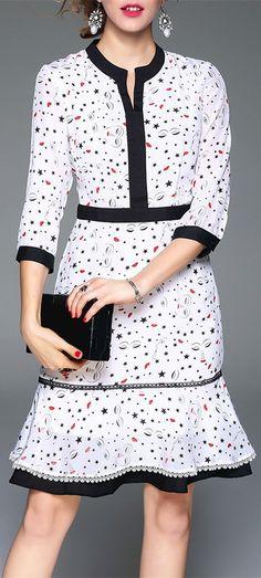 Fitted Silk Print Dress