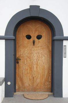 Giant owl carved into a wooden door. Door to the World.