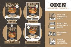 Hi guys, my new product Oden Promotion Templates for your promotion restaurant business. This commercial sale promotion templates customized designed with set of 4 templates: Flyer, Poster, Sale Promotion, Flyer Template, New Product, Custom Design, Commercial, Restaurant, Graphic Design, Templates, Guys