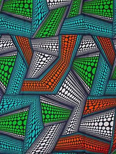 Modern African Style Fabric Super Deluxe Wax Green Orange Turquoise sw6372_1