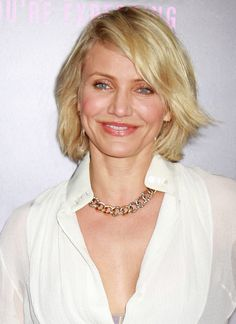 """""""Celebrities like Cameron Diaz have thin hair and when they have their hair cut in a shorter style or a blunt bob, their hair looks luxuriously thick,"""" says celebrity hairstylist Pasquale Caselle. """"This kind of cut keeps the hair from getting weighed down and emphasizing the lack of volume."""""""