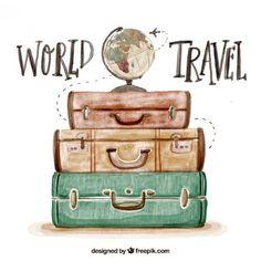 Fundo bonito da aguarela com bagagem Vetor grátis #agenciadeviajes