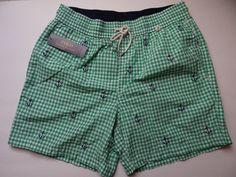 Polo Ralph Lauren Men's Green/Wht/Navy Swimming Embroid Trunks Shorts Sz S & XL #PoloRalphLauren #Trunks