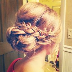 blonde updo with beautiful braid. @Tori Oconnell I love this one!