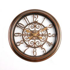 Antiqued Brown Scrollwork Cutout Clock