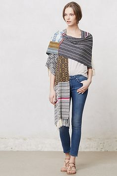 Patchworked Narrative Wrap $128