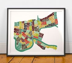 New Orleans Neighborhood Typography Map Art Print This signed print is from my hand-drawn Typography Map Art Series of original ink drawings • All of my original & uniquely designed typography map art is painstakingly composed by hand in black india-ink for a clean & modern graphic