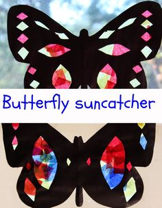 Butterfly Suncatcher with construction paper and tissue paper!
