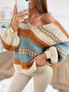 Check The Best Price In My Store Autumn Winter Women Sexy V-neck Knitted Striped Sweater Loose Oversized Sweater Tops Long Sleeve Patchwork Pullover Sweaters in Sweaters Categories. Loose Sweater, Long Sleeve Sweater, Long Sleeve Tops, Sweater Cardigan, Sweater Sale, The Cardigans, Sweaters For Women, Rainbow Sweater, Bishop Sleeve