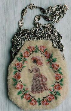Knitted with antique beads.  Made by Tineke Nieuwenhuijse-Taal.