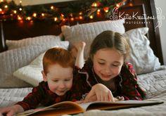 Christmas pajama session of three adorable siblings.